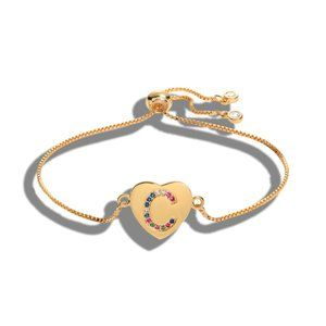 "Gold Heart Letter ""C"" Initial Name CZ Bracelet"